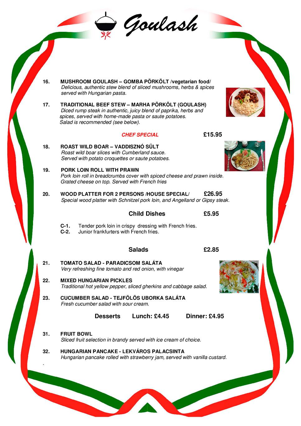 Hungarian Restaurant Menu